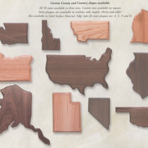 Wood state plaques by Big Sky