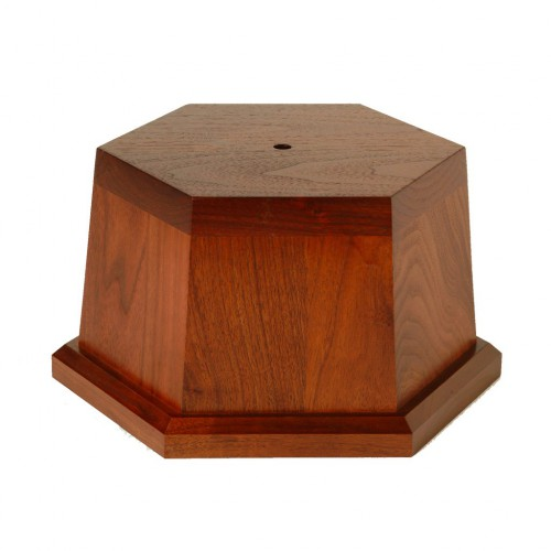 Tapered wood hexagon bases crafted by Big Sky